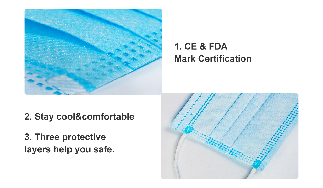 Disposable Breathable and Comfortable FDA Approved Extra Protection Masks(For Box/50PCS)